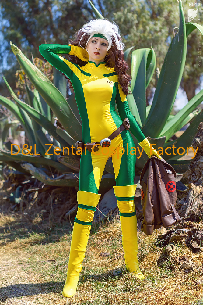 Us 48 99 Free Shipping Dhl 2016 X Men Rogue Cosplay Costume Yellow And Green Lycra Spandex Catsuit Superhero Halloween Costume For Women In Movie