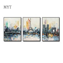 MYT Tower 3pcs as 1 Set Handpaint Abstract Canvas Art Modern Painting Poster Living Room Aisle Entrance Artistic Wall(China)