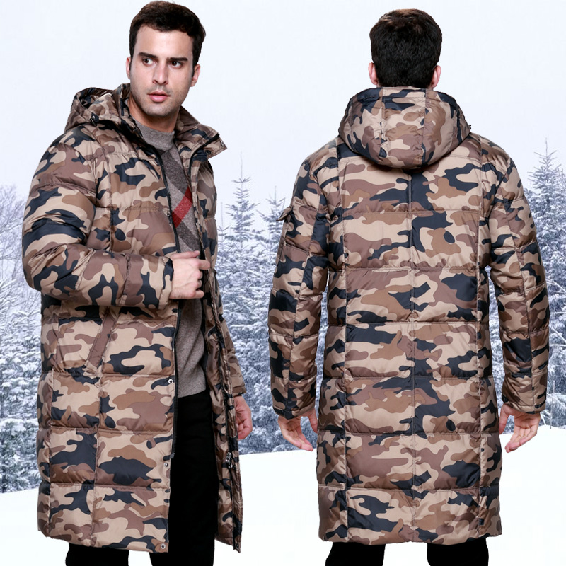 2017 Winter Male Camouflage Medium-long Down Coat Lengthen Thickening With A Hood Overcoat Over-the-knee Thick Clothes Plus
