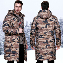 Winter male Camouflage medium long down coat lengthen thickening with a hood overcoat over the knee