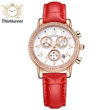 GARLIASHE Encanto de Tres Ojos Calendario Resistente Al Agua Reloj de Las Mujeres de Cuero de Moda Reloj de pulsera de Cuarzo Casual Relojes Relogio Feminino