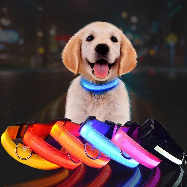 点滅ナイトランプ安全ペット犬の首輪ナイロン犬の首輪クイックスナップバックルペットクリエイティブライトアップでグローをダークランプ