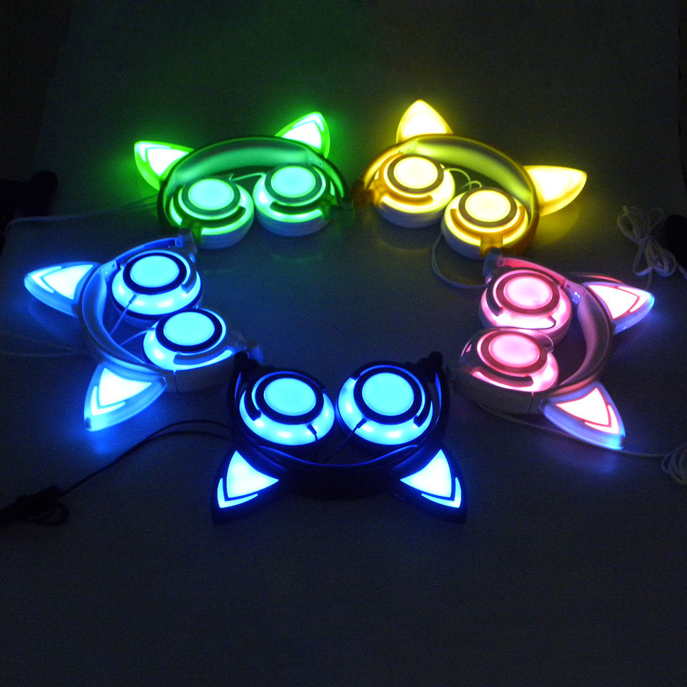 Newest Luminous Cat Ear Headphones Wired Flashing Earphone
