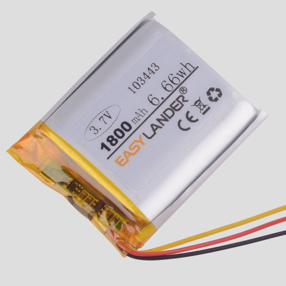 3 line <font><b>3.7V</b></font> lithium polymer <font><b>battery</b></font> 103443 <font><b>1800MAH</b></font> game machine MP3 MP4 MP5 GPS navigator Radio Drift Stealth 2 action camera image