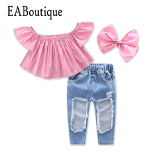 EABoutique summer fashion girls clothes Ruffle sleeve shoulderless top with big hole jeans bowtie headband girls clothing sets