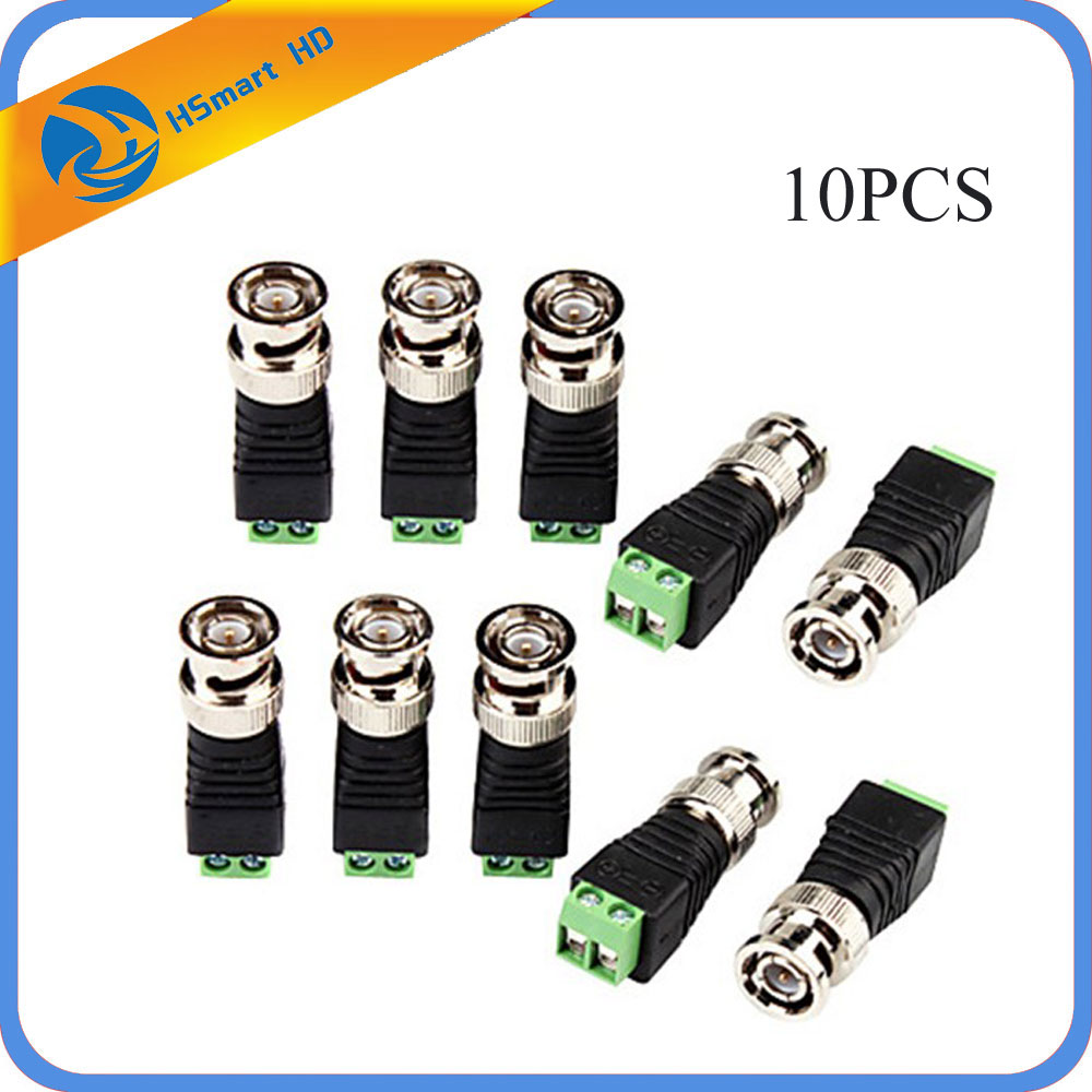 10PCS BNC Male CCTV Video Adapter Coaxial Coax Balun Camera TV Connector For Security CCTV Analog Camera DVR Systems
