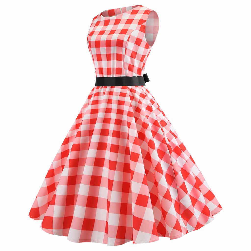 Женское платье Элегантное милое винтажное клетчатое платье с круглым вырезом без рукавов с поясом женские Повседневные Вечерние платья по колено Vestido Verano