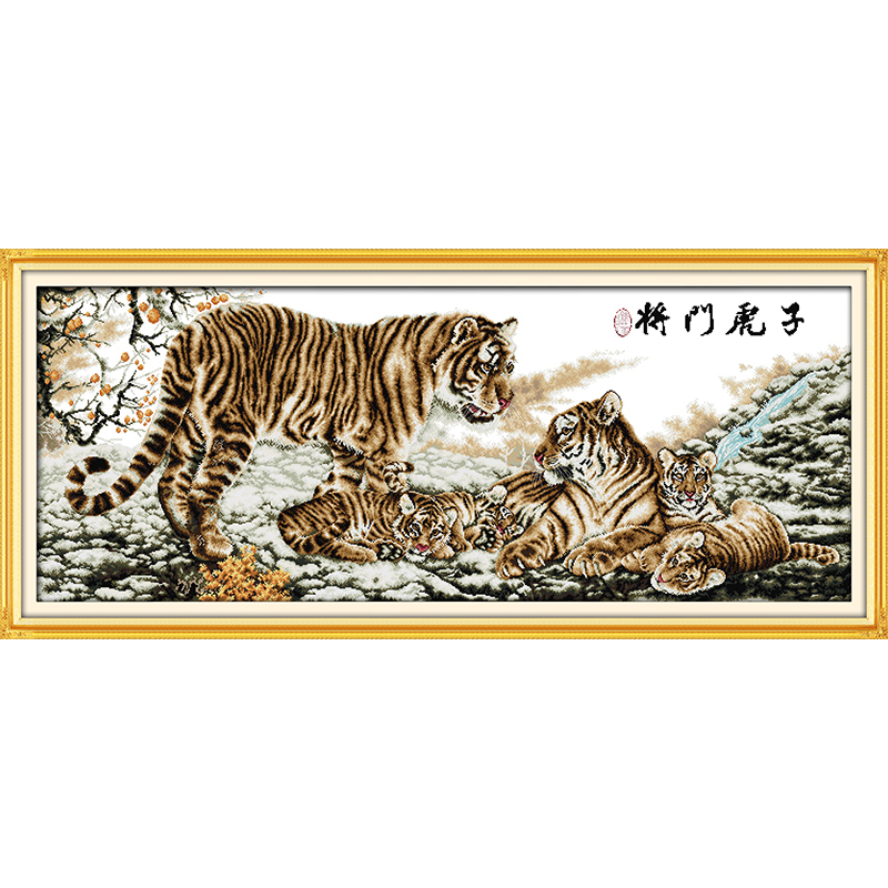 Everlasting love Tiger family Chinese cross stitch kits Ecological cotton stamped 14 11CT DIY gift new