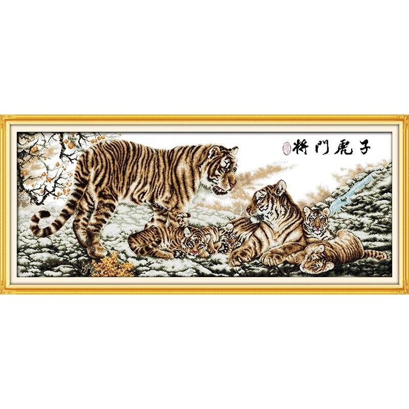 Kits de punto de cruz chino familia Tigre amor eterno algodón ecológico estampado 14 11CT DIY regalo decoraciones de año nuevo para el hogar-in Paquete from Hogar y Mascotas    1
