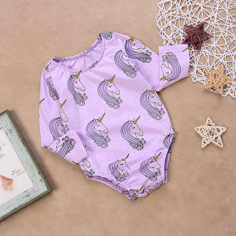 Vinnytido Baby Bodysuit Infant Girl Long Sleeve Unicorn Jumpsuit Cotton Newborn Clothes Bodysuits in Bodysuits from Mother Kids