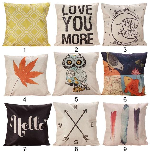 1 Piece Fashion Decor box Retro Cotton Linen Throw Compass Cushion Cover Pillowcase Great Gift for Friend 45 cm x 45 cm