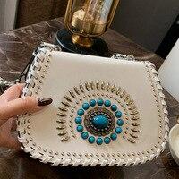Luxury Brand Women Genuine Leather Turquoise saddle bag Handbags Ladies Hand Bags Messenger Bags Shoulder Designer Small Bag