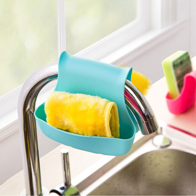 Super Double Sink Caddy Sponge Holder Blue Saddle Style