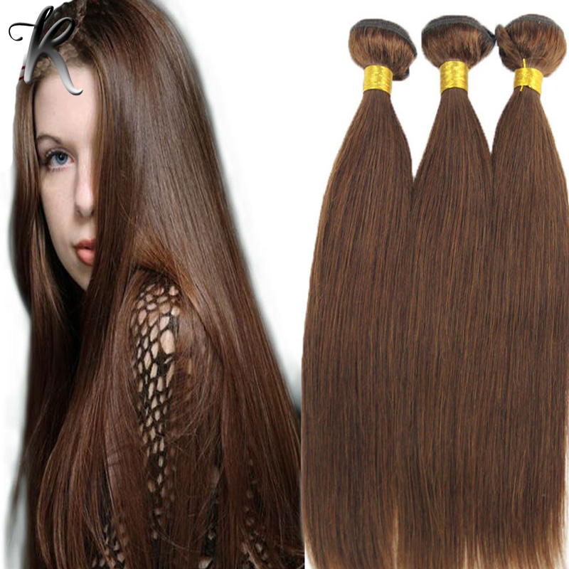 Highlighted Pure Brown Indian Virgin Hair 3PCS Silky Straight Indian Remy  Hair Weave 12