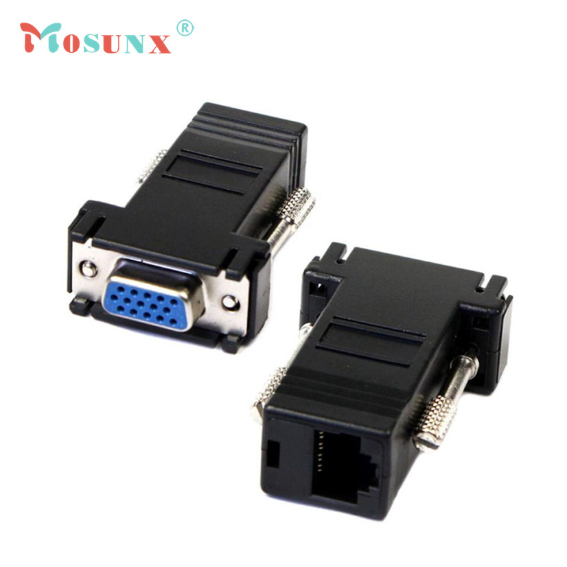 Factory Price MOSUNX Hot Selling New VGA Extender Female To Lan Cat5 Cat5e RJ45 Ethernet Female Adapter Drop Shipping