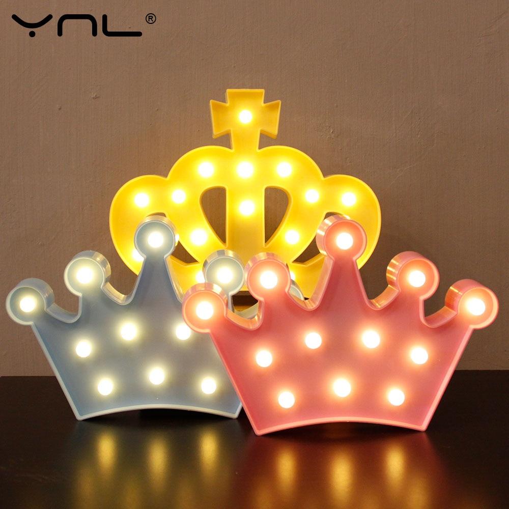Crown 3D LED Night Light Table Lamp Lovely Flamingo Cactus Star Cloud Christmas Fairy Cartoon Bedroom Decor Kids wall lamp