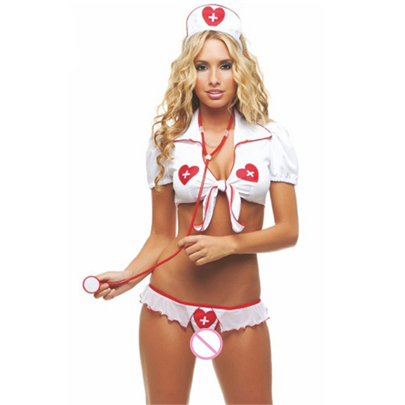 Buy M/L/XL Plus Size Sexy Lingerie Hot White Sexy Nurse Costumes Porn Erotic Lingerie Sexy Role Play Babydoll Women's Sex Underwear