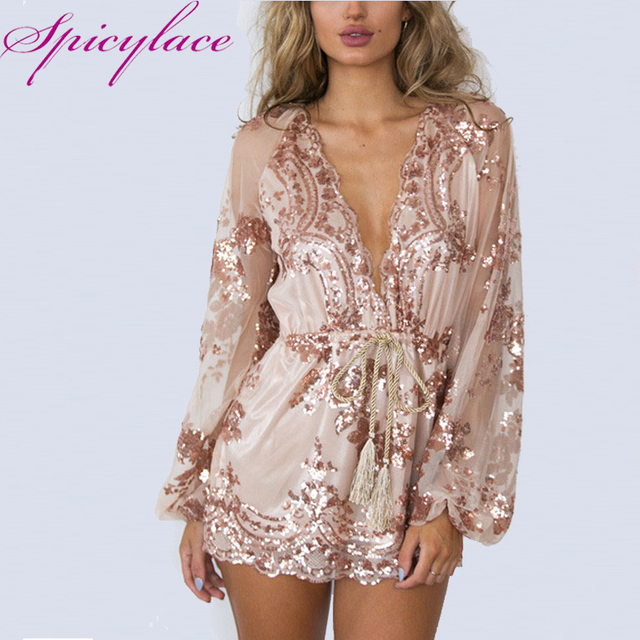 56a7f705c66 Spicylace Women s Gold Bling Sequined Lace Deep V-Neck Playsuit With Belt  Tie Sexy Jumpsuits Party Romper Ties Bodysuit