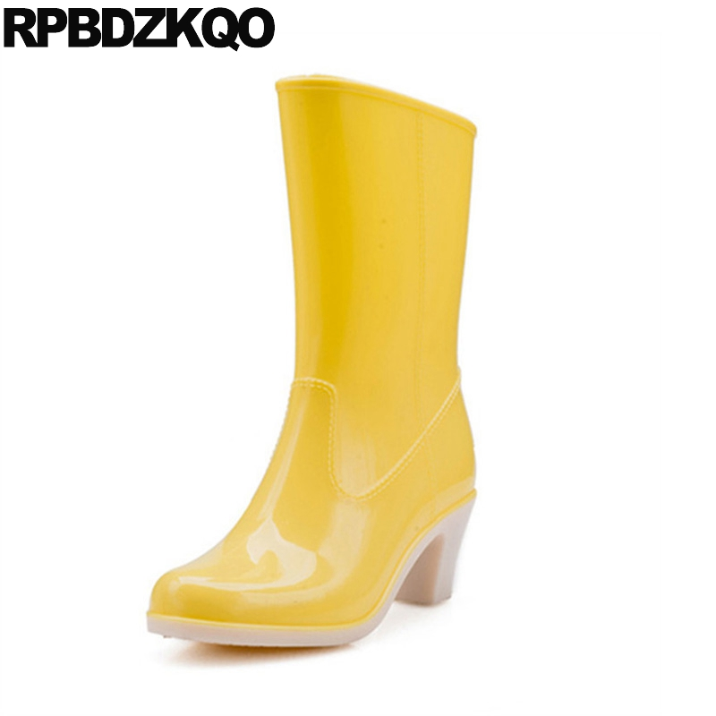 Yellow Cheap Slip On Rain Chunky Shoes Jelly Japanese Fur Candy Boots Winter Waterproof Pvc Women Rainboots Mid Calf High Heel image