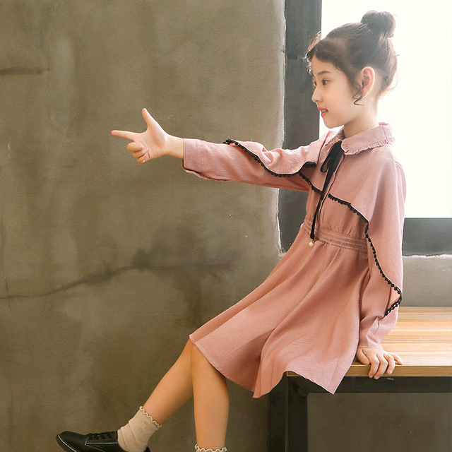 Girls Dress Fall 2018 New Korean Children's Long-sleeved Bow Bat Lotus Leaf Autumn Teenage Girl Dresses 110-160cm