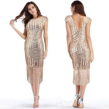 Robe d'été nouvelles femmes maxi robe à paillettes femme maille frangée Sexy dos nu robe femmes robes de soirée robe sexy vestido mujer