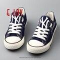 2017 Летняя Мода Нью-йорк Янкиз мужской Повседневная Обувь Печатных Смешно Холст Обуви Прохладный Топы Для Мальчиков Мужчины Граффити обувь