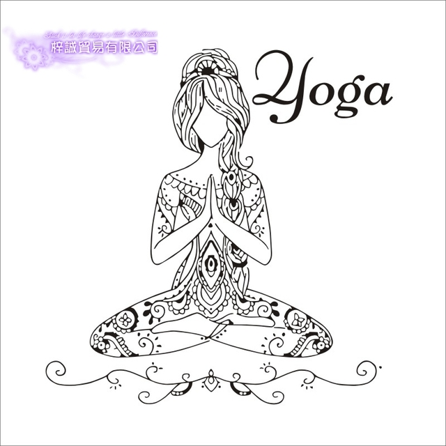 DCTAL Yoga Girl Quotes Namaste Wall Decal Hinduism Wall Sticker Living  Rooms DIY Home Decor Yoga