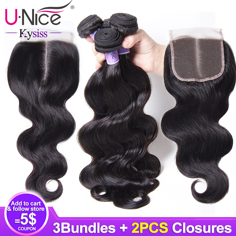 Unice Hair 8A Kysiss Series Malaysian Body Wave 3 Bundles with 2 Closure Weave Bundles with