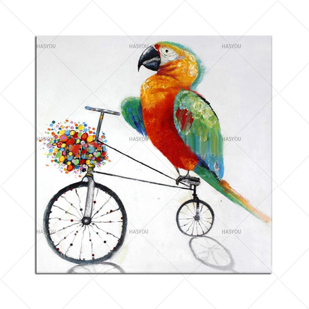 13 38 50 De Réduction Pop Sans Cadre Moderne Décor à La Maison Perroquet Peintures à L Huile Oiseaux Dessin Animé Photos à La Main Peintures