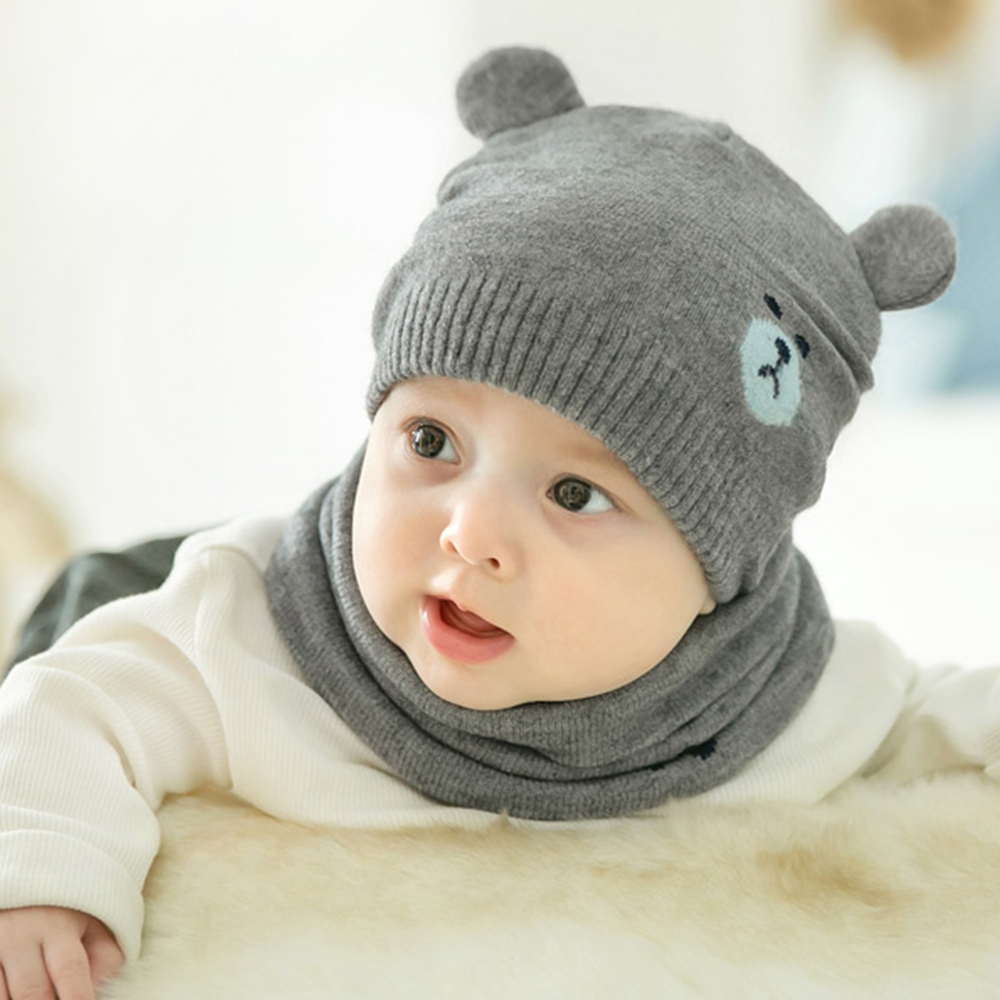Winter Infant Caps Scarf Suits Autumn Cotton Baby Beanie Hats Cartoon Knitted Newborn Hat Elastic Toddler Cap Set