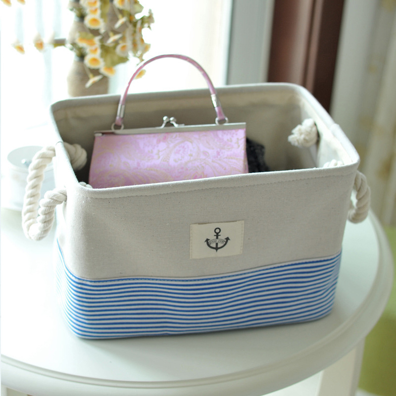 Thicke Linen Storage Box For Office Home Sundries Clothes Organizer Toy Bin  Basket Wardrobe Deasktop Makeup Container Handle
