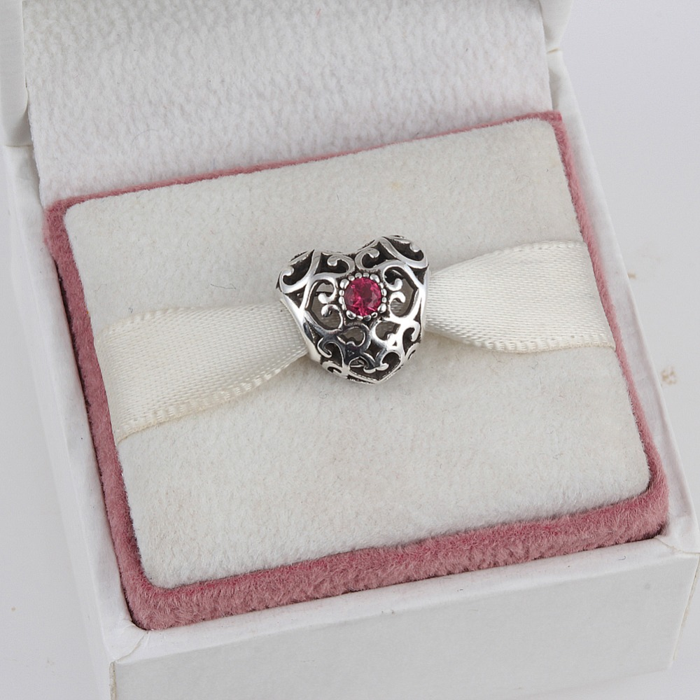 July 925 Sterling Silver Heart Birthstone Charms Beads Fits Pandora Charms Bracelet 12 Month Color Choose