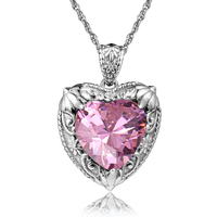 SzjinAo Women's Glamour Sexy Pink Gemstone Necklace Pendant Elegant Flower Set Embossed Sterling Silver Pendant, without chain