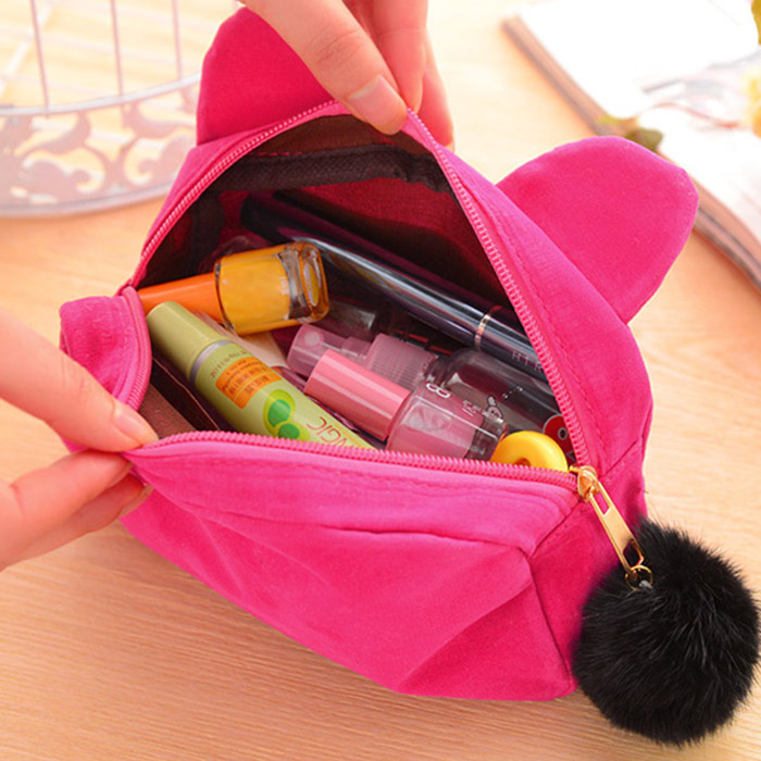 Portable Cartoon Cat Coin Storage Case Travel Makeup Flannel Pouch Cosmetic Bag -MX8