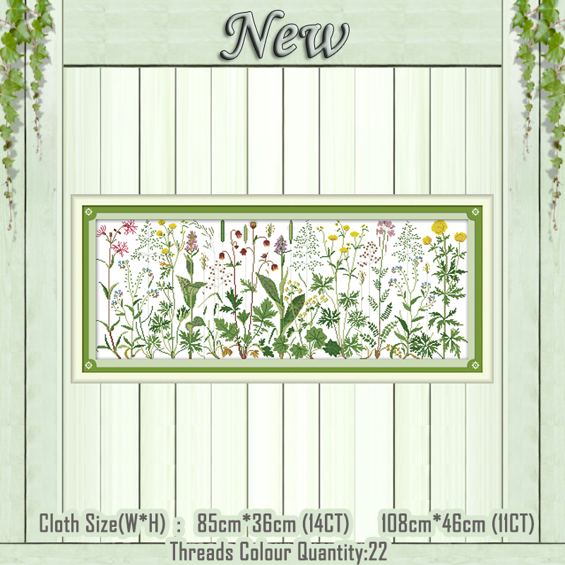 Flowers on the meadow scenery paintings counted printed on the canvas DMC 11CT 14CT kits Cross Stitch embroidery needlework SetsFlowers on the meadow scenery paintings counted printed on the canvas DMC 11CT 14CT kits Cross Stitch embroidery needlework Sets