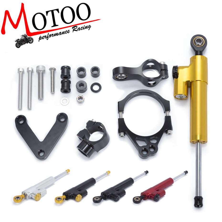 Motoo- Motorcycle Full set CNC Steering Damper Stabilizerlinear Linear Stabilizer Bracket kit For DUCATI 848 2008-2010 2009