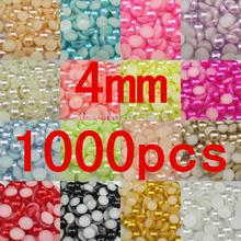 free shipping many colors resin half pearls round beads 4mm 1000pcs flat back beads nail art decorate diy