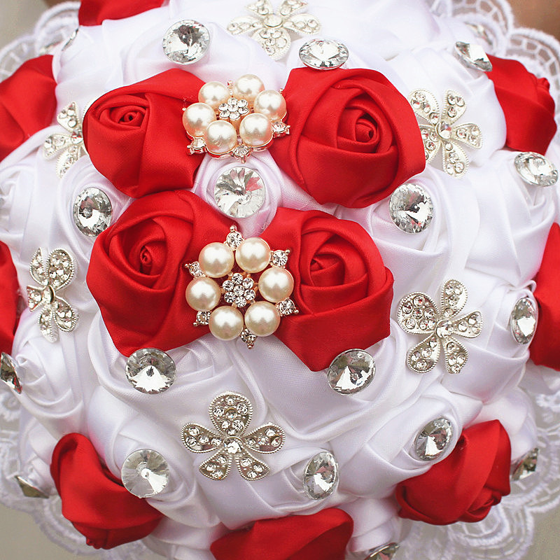 Image 3 - WifeLai A 1Piece Luxury White Red Rose Flowers Lace Brooch Bridal Bouquets Diamonds Stitch Wedding Decoration Bouquets W2281-in Wedding Bouquets from Weddings & Events