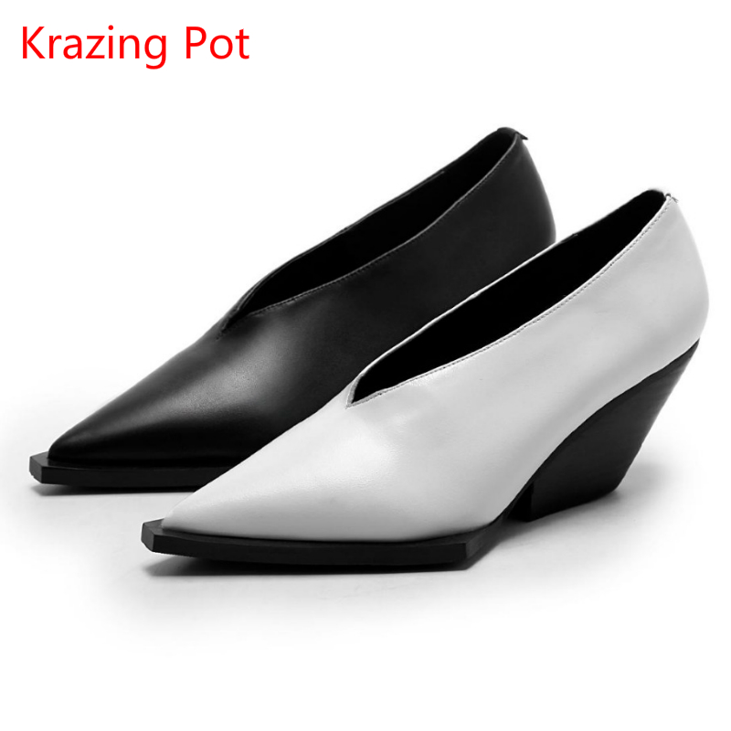 Fashion Superstar Brand High Heels Women Pumps Wedges Lady Solid Square Toe Increased Shoes Runway Model