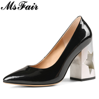 MsFair Pointed Toe Strange Style Women Pumps Genuine Leather Super High Heels 2018 Spring Casual Fashion Shallow Women's Pumps