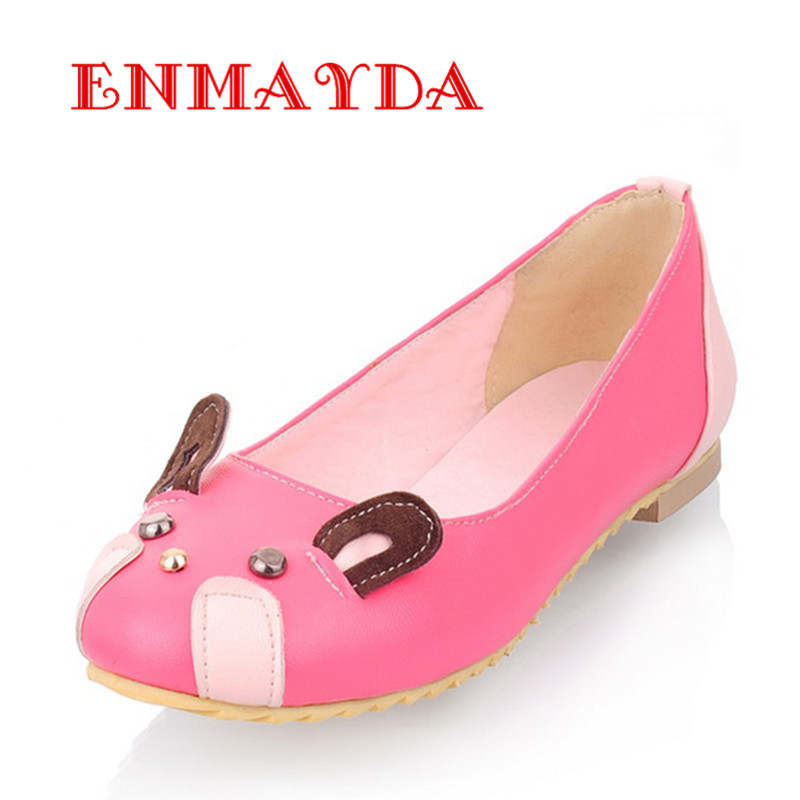 ENMAYDA Flats Shoes Spring and Autumn Poninted Toe Flats Shoes 4 Colors White Shoes font b