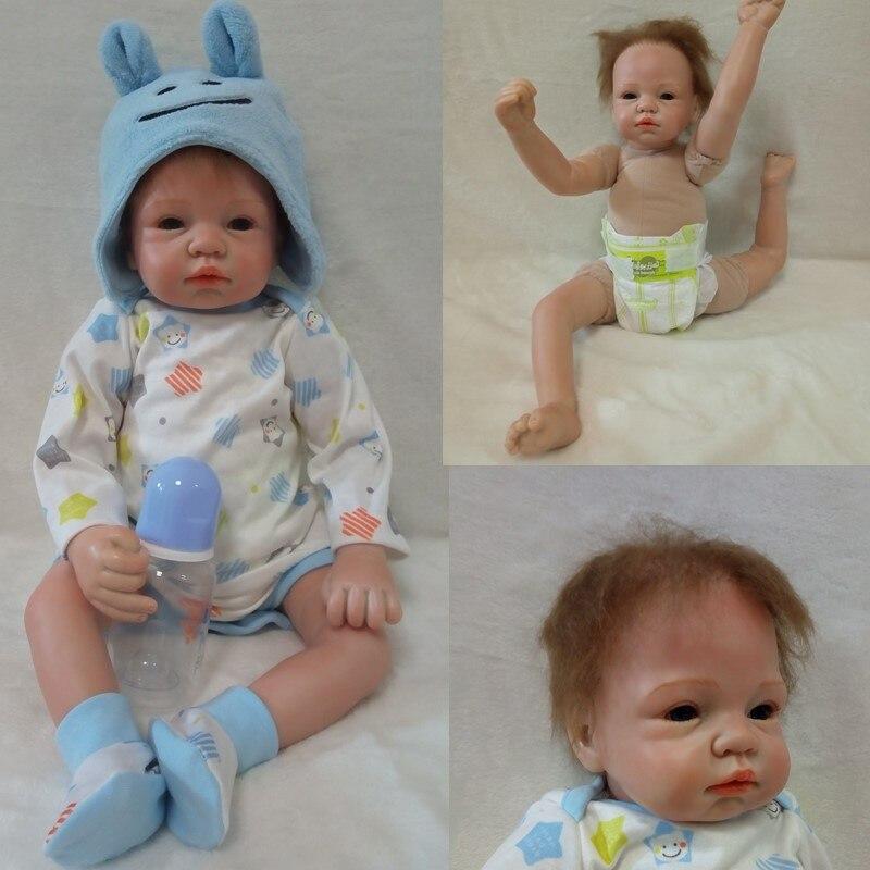 new arrivals soft body silicone reborn baby dolls boys girls 55cm Brinquedos 22inch birthday new year