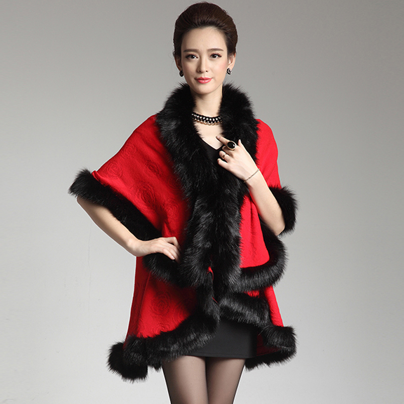 Winter oversized christmas weater female long fur collar wool thick cloak coats batwing sleeve cardigans women sweaters W052