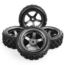 4pcs/set 4x Rubber Tires Wheel Rims Set 6mm Offset fit 1/10 RC Rally Racing Off Road Car