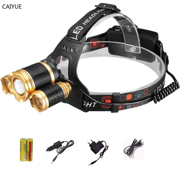 3 LED Zoomable Headlight 10000 LM Headlamp CREE XM-L T6 LED Head Lamp light rechargeable flashlight torch lighting for camping