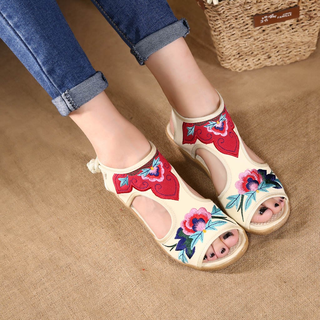 YOUYEDIAN Women Sandals Heels Ankle-Strap Embroidered-Shoes Wedges-Color Fish-Mouth Peep-Toe
