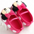 2017 Newborn Baby Girls Cute Sweet Mary Jane Cartoon Prewalker Shoes Kids Princess Minnie Mouse Toddlers Shoes Soft Bottom Shoes