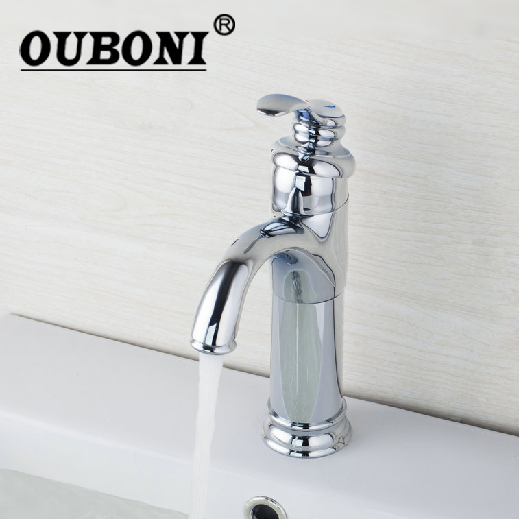 OUBONI Chrome Brass Deck Mounted Single Handle Bathroom Widespread Wash Basin Sink Vessel Vanity Faucets,Mixer Tap