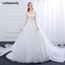 Купить с кэшбэком Ladybeauty New 2018 Wedding Dress Custom Made Slim Appliques Robe De Mariage Puff Yarn Dreaming Straps Lace Vestido De Noiva