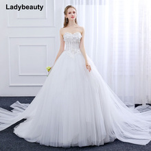 Ladybeauty New 2018 Bryllupsklær Custom Made Slim Sequined Robe De Mariage Puff Garn Dreaming Straps Lace Vestido De Noiva
